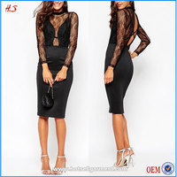 Woman Wear Custom Wholesale Price Lace Multi Cami Strap Plunge Midi Dress Black Lace Long Sleeve Pakistani New Style Dresses