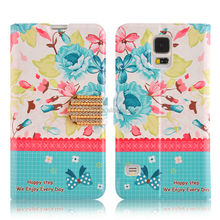 New Arrive Ladies Wallet Cath Stylish Ladies Flower Leather Case For Samsung Galaxy S5 I9600
