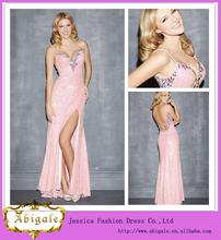 Nuevo atractivo de la envoltura rajó sin mangas Backless lentejuelas rosadas árabes vestidos de noche vestidos de 2014 (QU0859)