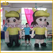 Lovely Advertising Inflatable Boy & Girl Walking Mascot Character