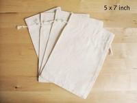"Plain Muslin Bag 5"" x 7"", Cotton Muslin Bags, Natural Cotton Muslin Drawstring Bags"