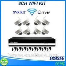 ip nvr 8ch set wifi dome camera home/office/store use P2P wireless 2mp ip camera KIT wifi hd ip camera 1080p set