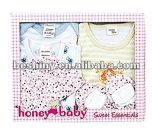 180g cotton cloth material 5 pcs printed baby set baby gift sets