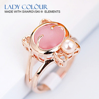 A0409 Lovely little Miky Cat Ring Zinc Alloy 18K Champagne gold Plated With High Quality Opal & Pearl Jewelry Wholesale