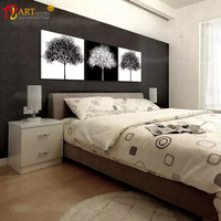 Home Decoration Multi-panel Canvas Wall Art Black and White Tree Painting