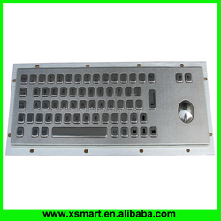 Industrial kiosk metal keyboard with integrated trackball