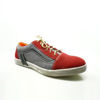2015 new style red suede upper lace up flat sole sport style cheap wholesale sneakers for men