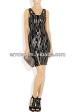 maravilloso vestido de noche venta caliente elegante negro bodycon vestido del vendaje