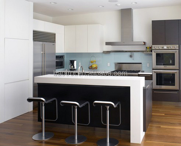 High quality white simple kitchen furniture small bar for Quality kitchen designs