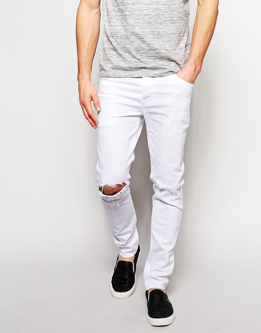 Skinny White Knee Ripped Jeans Men