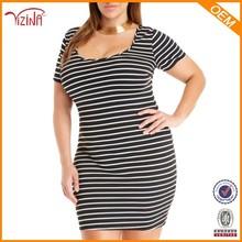 Wholesale plus size dress custom stripe lady fashion dress