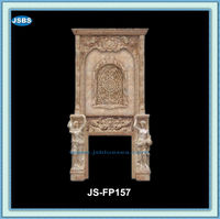 Indoor Used Travertine Carved Decorative Fireplace Mantles