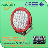Top Sale Black/ Red automobile 4x4 accessories 4wd offroad 9 inch 96w round led working light led driving lights