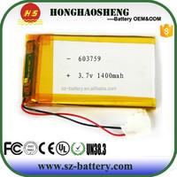 3.7v 1400mah lipo battery 603759 lithium-ion polymer battery for mobile phone