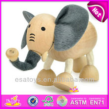 2015 New cute kids wooden toy doll,popular lovely children wooden toy doll and hot sale elephant wooden toy doll W06D002
