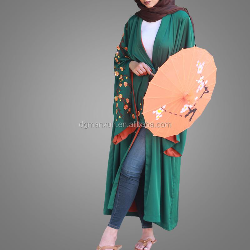 beautiful  green kimono abaya hand embroidery abaya  with fashion sleeves (1).jpg