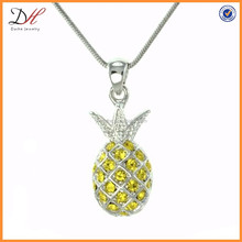 NC1267 Crystal ananas tropical fruit yellow pineapple necklace