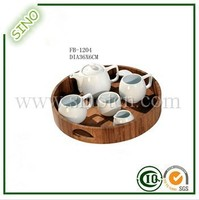 Round Ikea Bamboo Tea Cup Tray Serving Tray