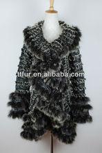 TT862-2 ladies rabbit fur &fox fur knitted coat for winter,black color