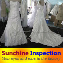 Inspection/quality check for wedding dresses from Taobao before loading with English inspection table