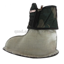 green camouflage textile shoe lining and upper boots vamp with zip