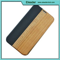 wood+leather +pc wooden leather cover for samsung galaxy s5