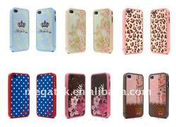 phone case colorful print rubber Hard back cover case for iphone 4 4s, for iphone 4 case rubber paint