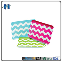 "10"" Colorful Plastic Melamine Serving Tray With Wave Design"