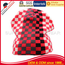 sports team checked racing knitted man hat