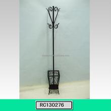 Metal Floor Standing Coat Rack Stand with Umbrella Holder Home Furniture