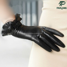 Deerskin leather black ladies lace gloves with bow