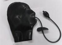 2015 new fashion Latex hood with inflatable plug latex fetish mask plus size Hot sale