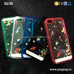 wholesale pc+tpu Planet Star quicksand Cell Phone Case for iphone 5,glitter flowing quicksand liquid star case for iphone 5 5s