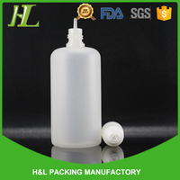 wholesale childproof cap plastic 100ml pe bottle semi transparent with long thin tip