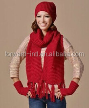 Fashion Style Warm Cashmere Scarf, Hat, Gloves with Knitted cashmere