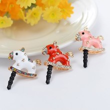 White,/Pink/Red Rocking Happy Horse Dust proof Plug Ear Jack Phone Charms For Smartphone