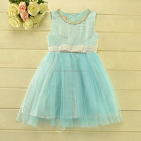 Aqua Pink color kids party wear dresses for girls of 2-6 years
