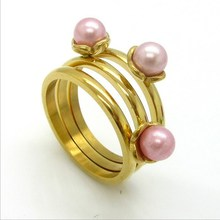 European Branded Stainless Steel Jewelry Three Pearl Ring Design For Girls