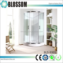 Hangzhou factory 5mm stripe line pattern printing portable bathroom simple glass shower cabin