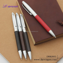 Cheap simple leather ball pen metal ball pen