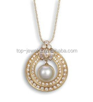2015 New Design Pendant tin cup pearl necklace with leather cord with crystal