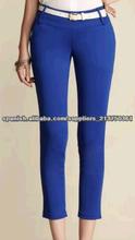 2014 YYH Mujeres Chic del color del caramelo flaco lápiz de los pantalones casuales pantalones Slim con Correa