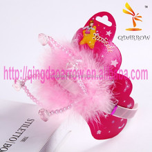 Pink Beads Party Kids Crown Tiara with Feather