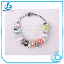 Latest rhinestone acrylic beautiful glass murano beads bracelet in yiwu