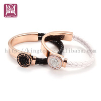 2016 new stainless mix steel bracelet and leather bracelet