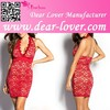 Red Plunging Neckline Lace Halter neck Mini evening Dress