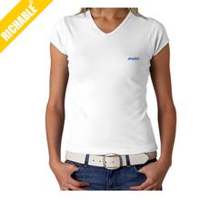 fashion white v-neck ladies t shirt