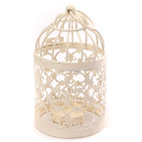 Vintage Metal Hollow Candle Holder Articles White Bird Cage Wrought Candlestick Hanging Lantern Home Decor Round 14*8cm