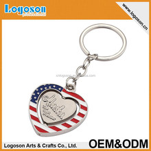 Color-filled heart shape America Alaska metal souvenirs key chain