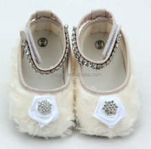 Baby Silk Ivory Shoes With Satin Bow
